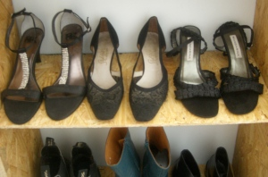 Grandmothers shoes in the middle. Handmade Vietnamese shoes on the right.
